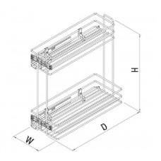 Механизъм за бутилки частично изтегляне, PUSH-OPEN за шкаф 150 мм